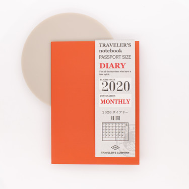 Traveler's Notebook Agenda 2020 Mensile Passport Size