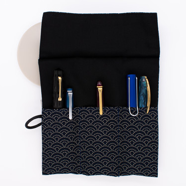 Saki Roll Pen Case with Japanese Fabric Blue