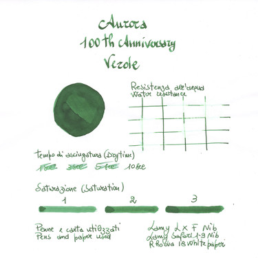 Aurora 100th Anniversary Green Ink Bottle 55 ml Special Edition