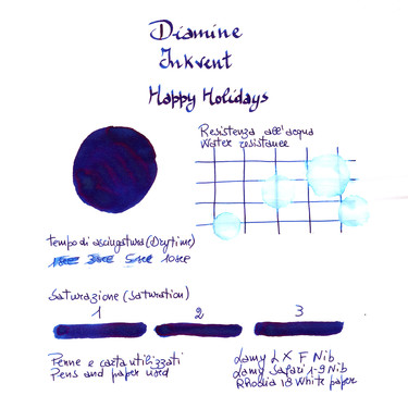 Diamine Inkvent Happy Holidays Inchiostro 50 ml Blue Edition Shimmer & Sheen