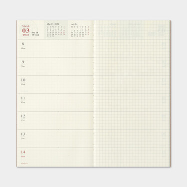 Traveler's Notebook Refill 2021 Weekly + Memo Diary Regular Size