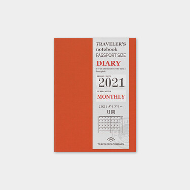Traveler's Notebook Refill 2021 Monthly Diary Passport Size