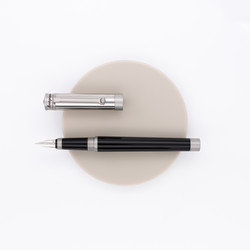 Montegrappa Parola Slim Duetto Fountain Pen Black & Satin Stainless Steel
