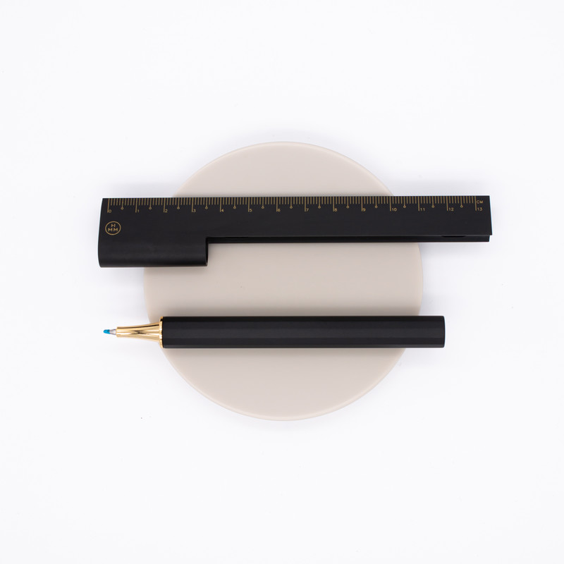 HMM Rule/One Ballpoint Pen with Ruler Black & Gold