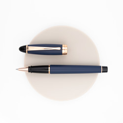 Aurora Ipsilon Satin Rollerball Pen Blue Rose Gold