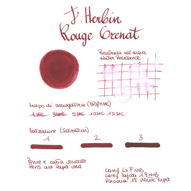 Herbin Rouge Grenat 6 Ink Cartridges