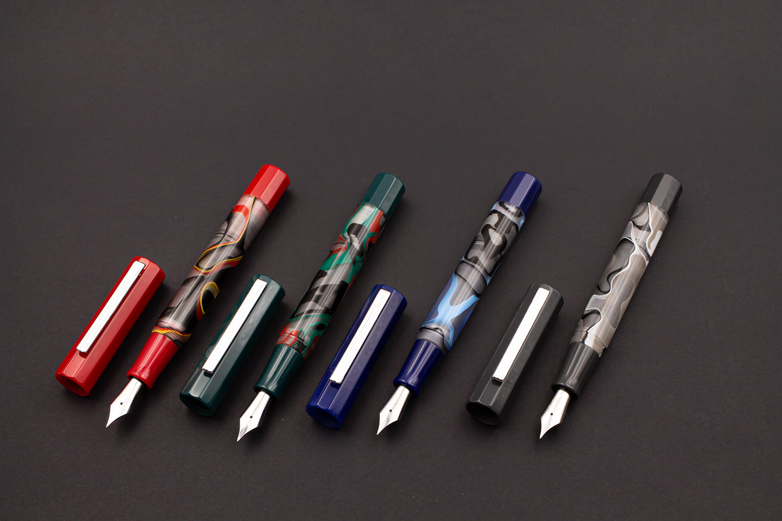 Opus 88 Flow Red, Blue, Grey and Green | Fountain Pen